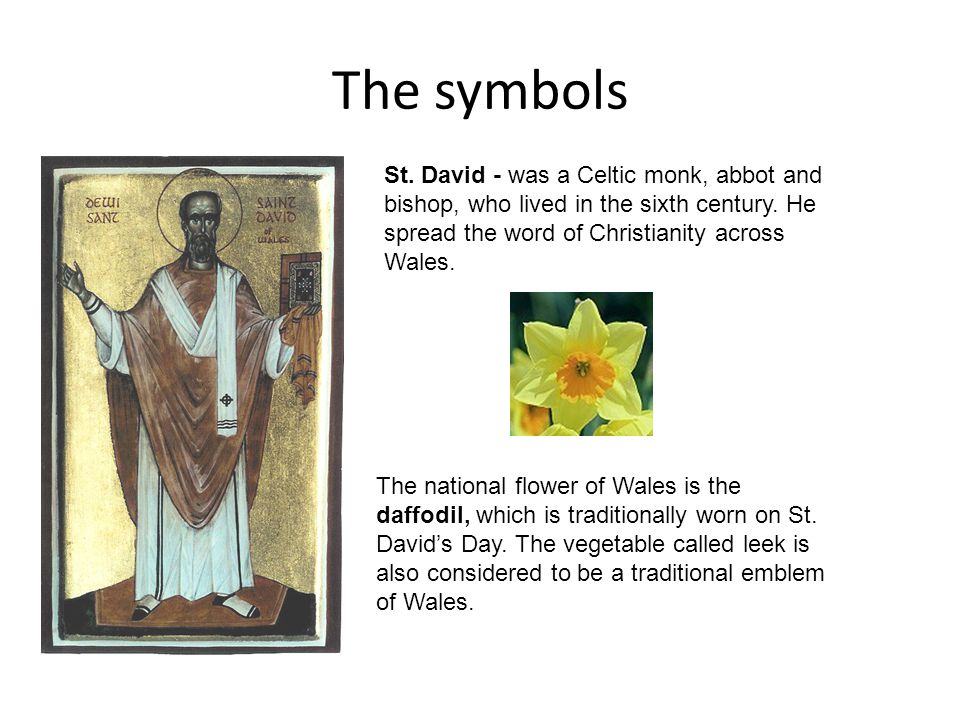 The symbols St. David - was a Celtic monk, abbot and bishop, who lived in the sixth century. He spread the word of Christianity across Wales. The nati