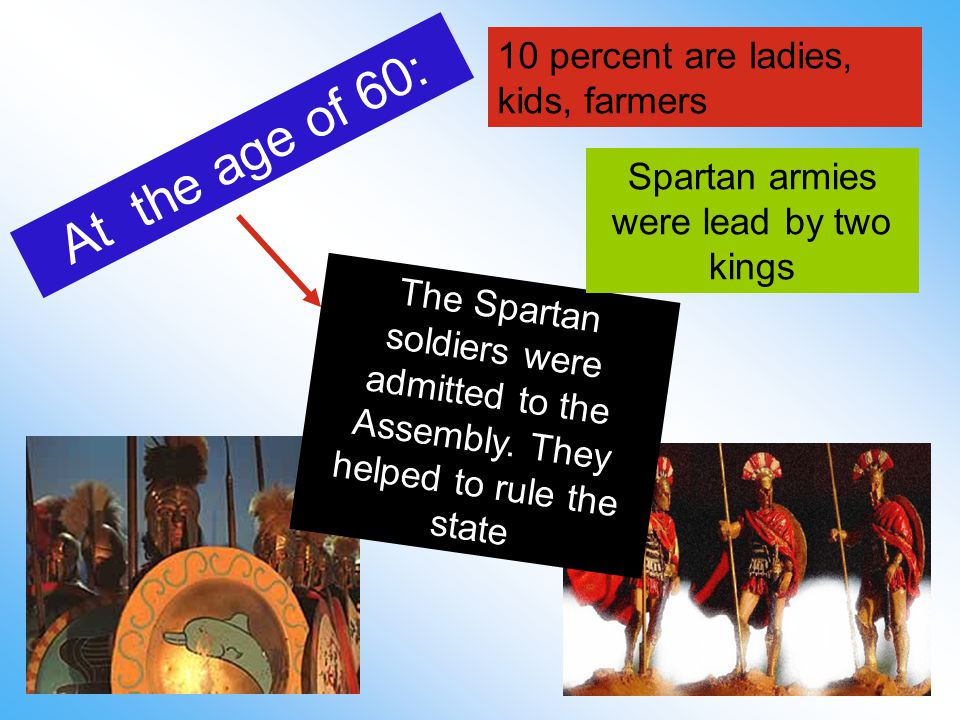 At the age of 60: The Spartan soldiers were admitted to the Assembly.