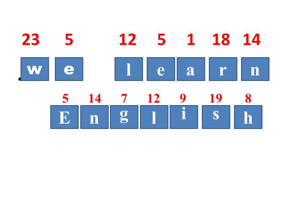 23 5 12 5 1 18 14 5 14 7 12 9 19 8 we rael E n g n i lh s