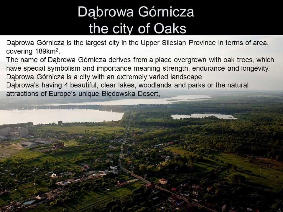 Dąbrowa Górnicza the city of Oaks Dąbrowa Górnicza is the largest city in the Upper Silesian Province in terms of area, covering 189km 2. The name of