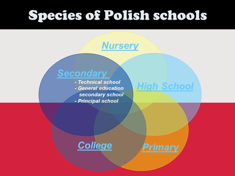Species of Polish schools Nursery Primary High School Secondary - Technical school - General education secondary school - Principal school College