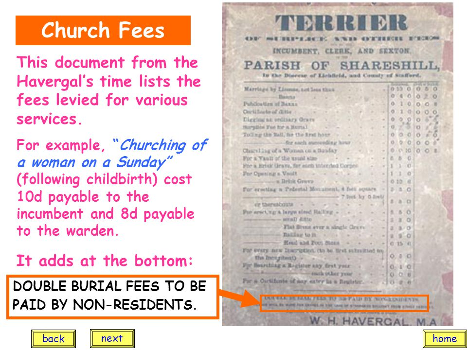 "This document from the Havergal's time lists the fees levied for various services. For example, ""Churching of a woman on a Sunday"" (following childbir"