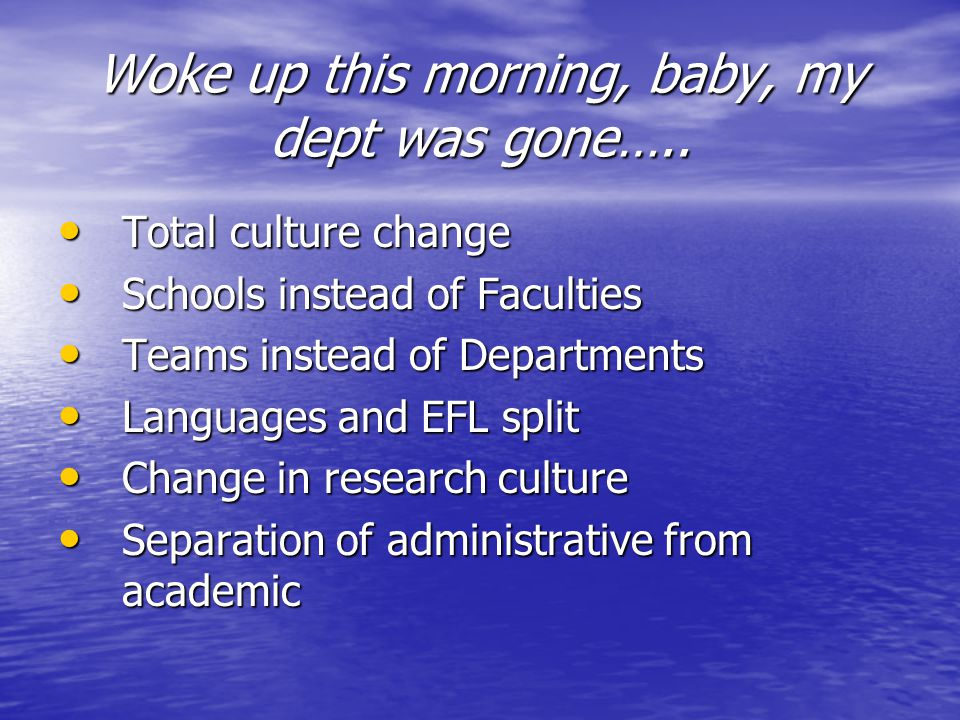 Woke up this morning, baby, my dept was gone…..