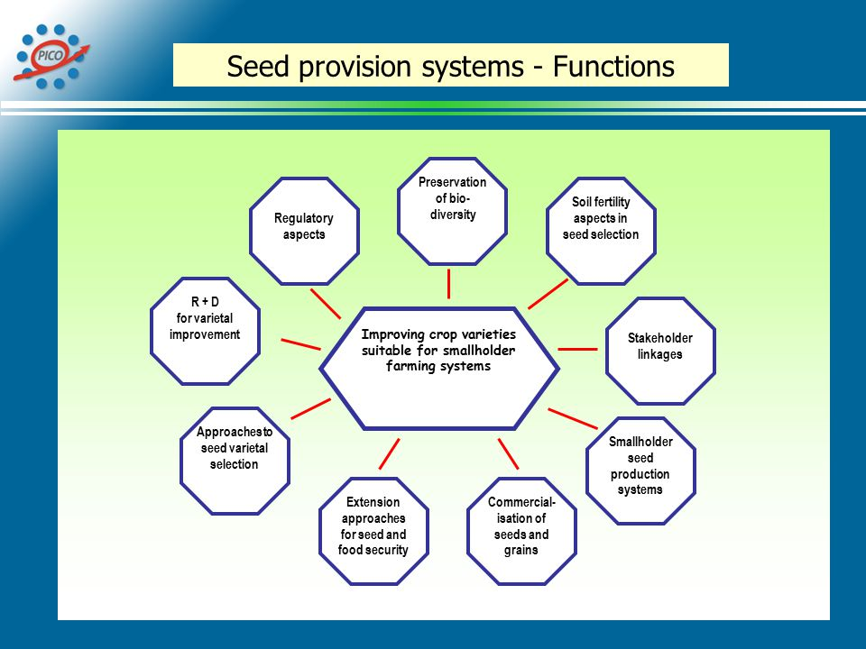 Seed provision systems - Functions Improving crop varieties suitable for smallholder farming systems R + D for varietal improvement Regulatory aspects