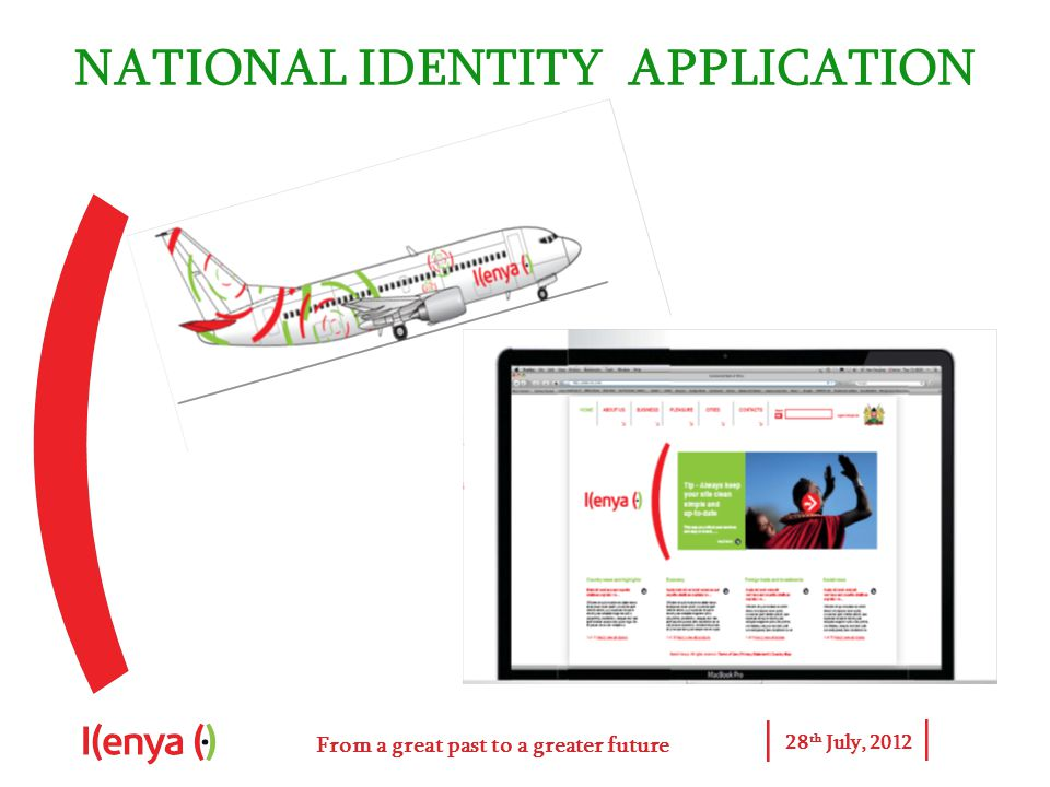 From a great past to a greater future 28 th July, 2012 NATIONAL IDENTITY APPLICATION