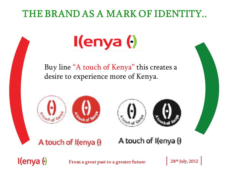 From a great past to a greater future 28 th July, 2012 THE BRAND AS A MARK OF IDENTITY..
