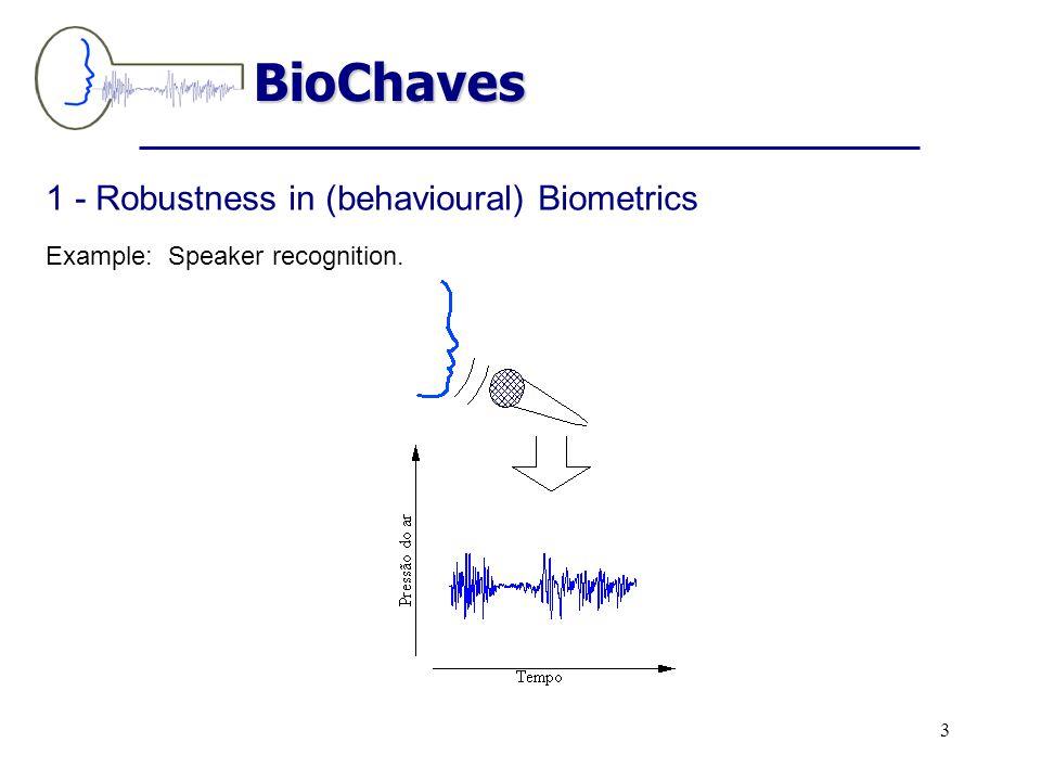 1 - Robustness in (behavioural) Biometrics Example: Speaker recognition. BioChaves 3