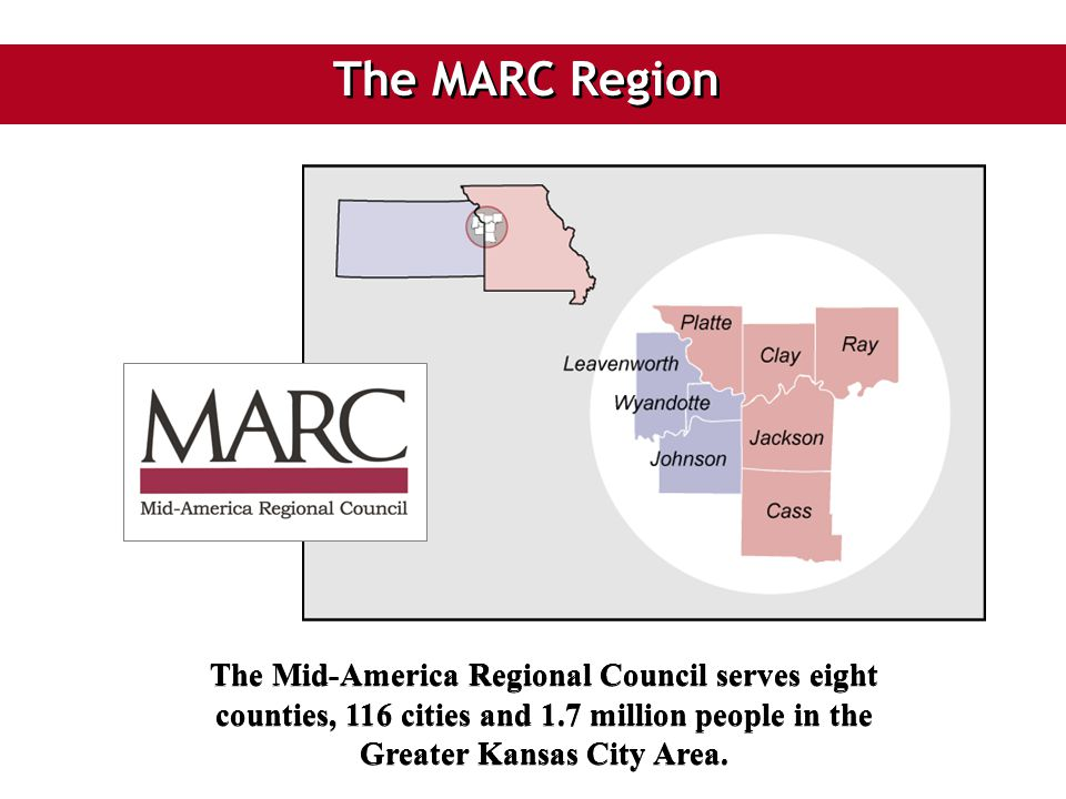 The MARC Region The Mid-America Regional Council serves eight counties, 116 cities and 1.7 million people in the Greater Kansas City Area.