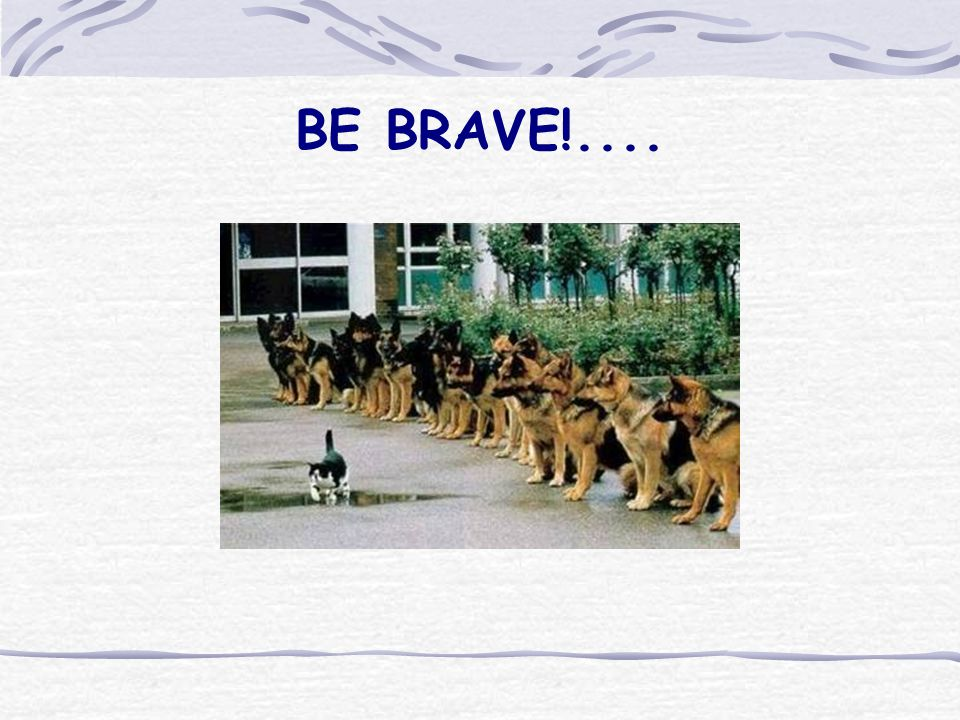BE BRAVE!....
