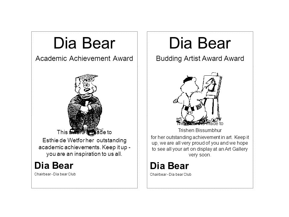 Dia Bear Academic Achievement Award This award is made to Esthie de Wetfor her outstanding academic achievements.