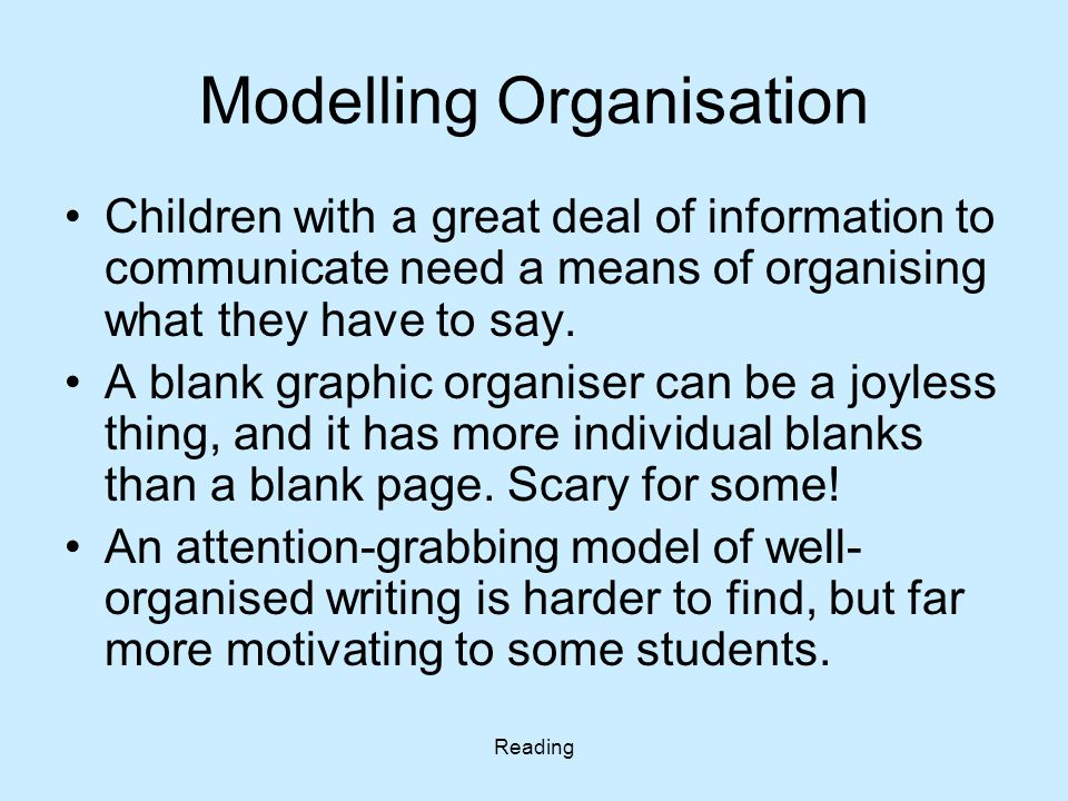 Reading Modelling Organisation Children with a great deal of information to communicate need a means of organising what they have to say. A blank grap