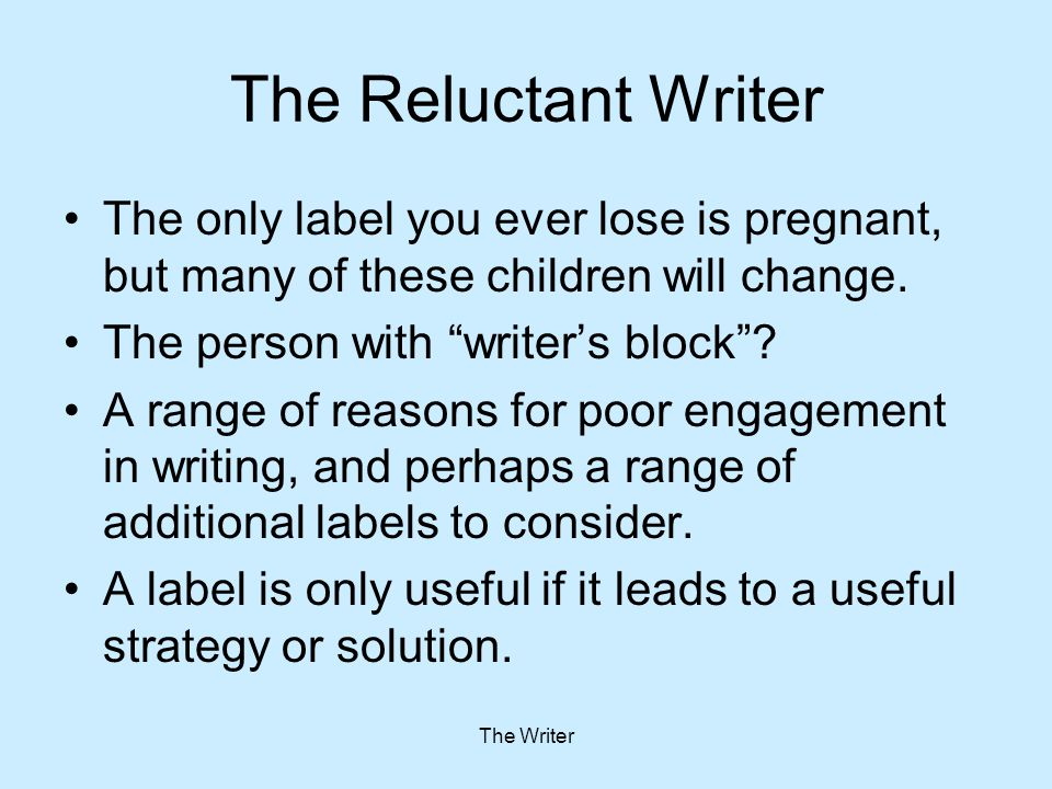 Perfectionism It Won't Be Any Good Many gifted children feel daunted by the task of writing because they compare what they write with published work, and do not know how to write at that standard - they are paralysed by perfectionism.