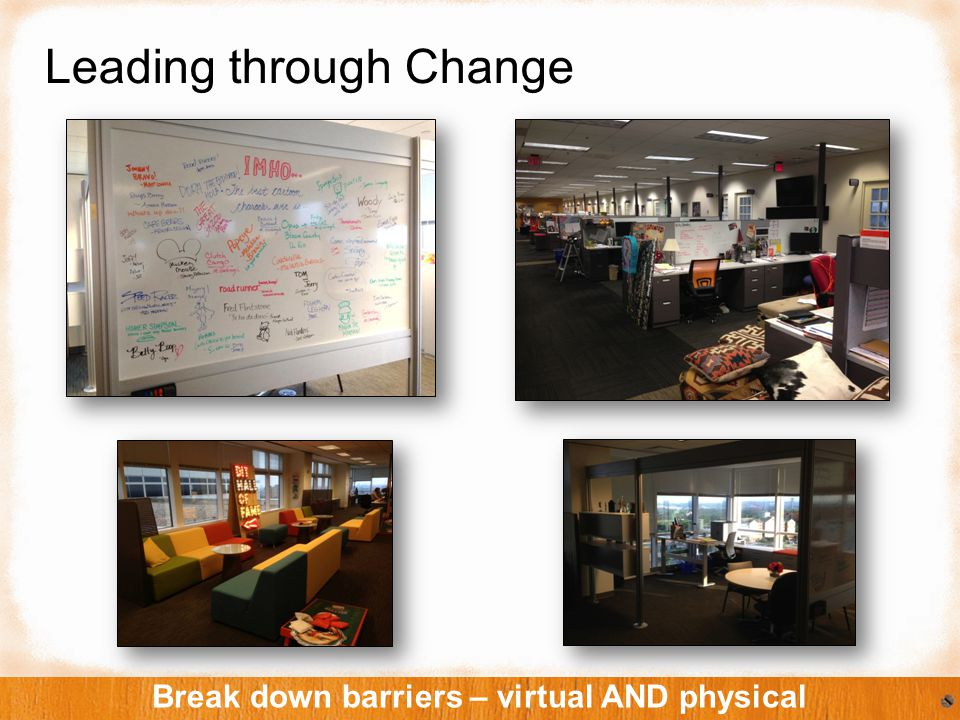 Leading through Change Break down barriers – virtual AND physical