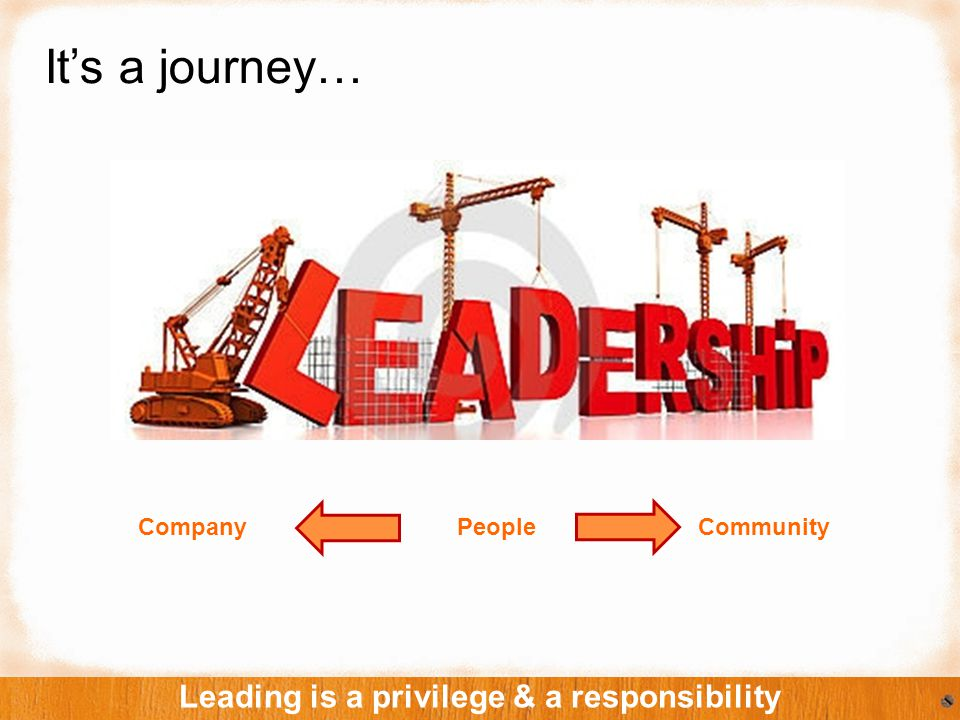It's a journey… Leading is a privilege & a responsibility Company People Community