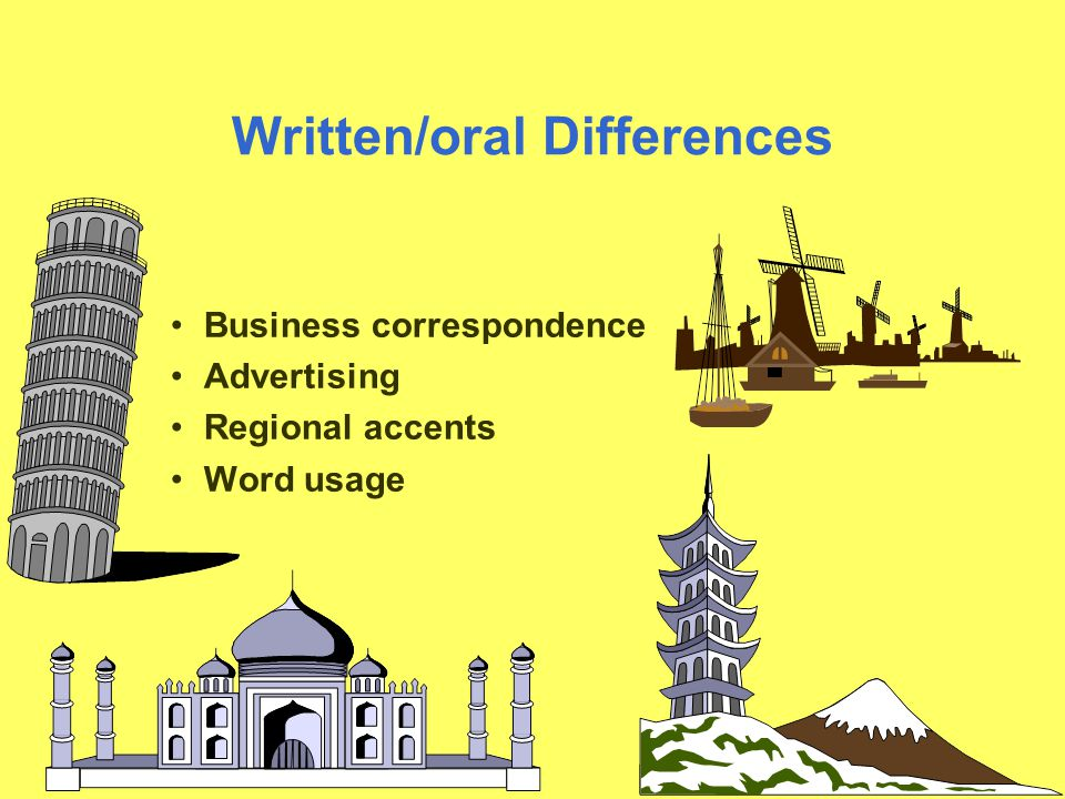 Written/oral Differences Business correspondence Advertising Regional accents Word usage