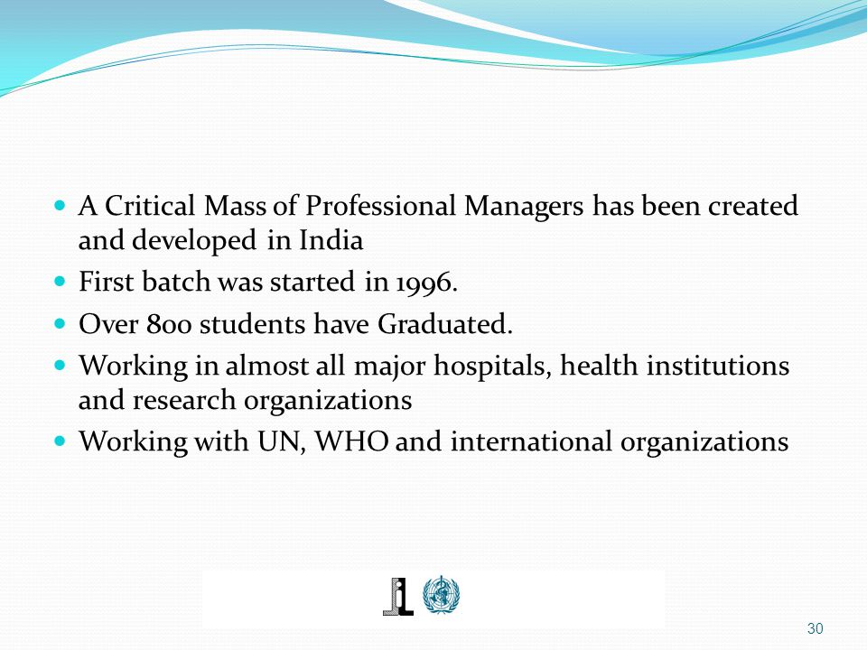 A Critical Mass of Professional Managers has been created and developed in India First batch was started in 1996. Over 800 students have Graduated. Wo