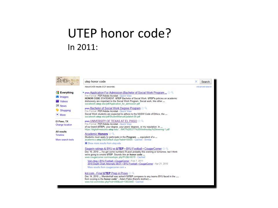 UTEP honor code? In 2014: