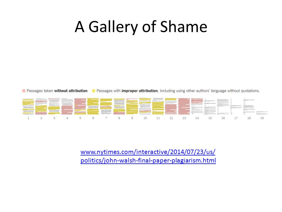 A Gallery of Shame www.nytimes.com/interactive/2014/07/23/us/ politics/john-walsh-final-paper-plagiarism.html
