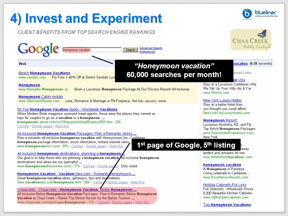 "4) Invest and Experiment CLIENT BENEFITS FROM TOP SEARCH ENGINE RANKINGS ""Honeymoon vacation"" 60,000 searches per month! 1 st page of Google, 5 th lis"