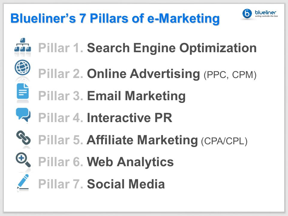 Blueliner's 7 Pillars of e-Marketing Pillar 1. Search Engine Optimization Pillar 2.