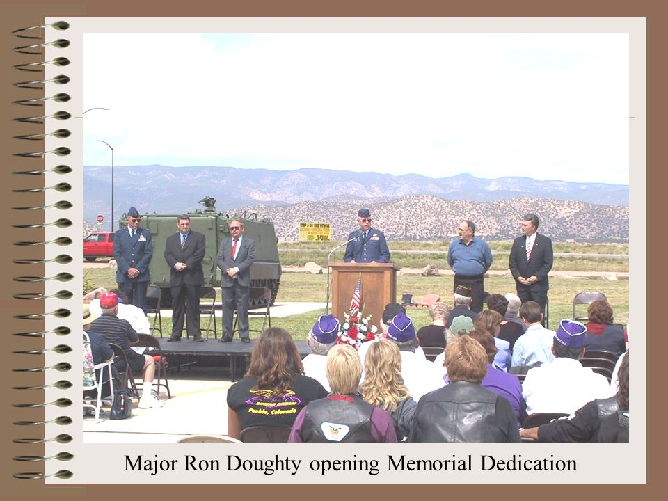Major Ron Doughty opening Memorial Dedication