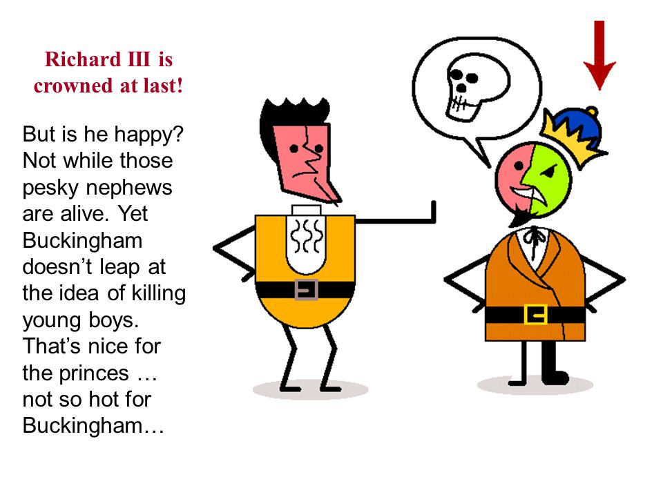 Richard III is crowned at last. But is he happy. Not while those pesky nephews are alive.