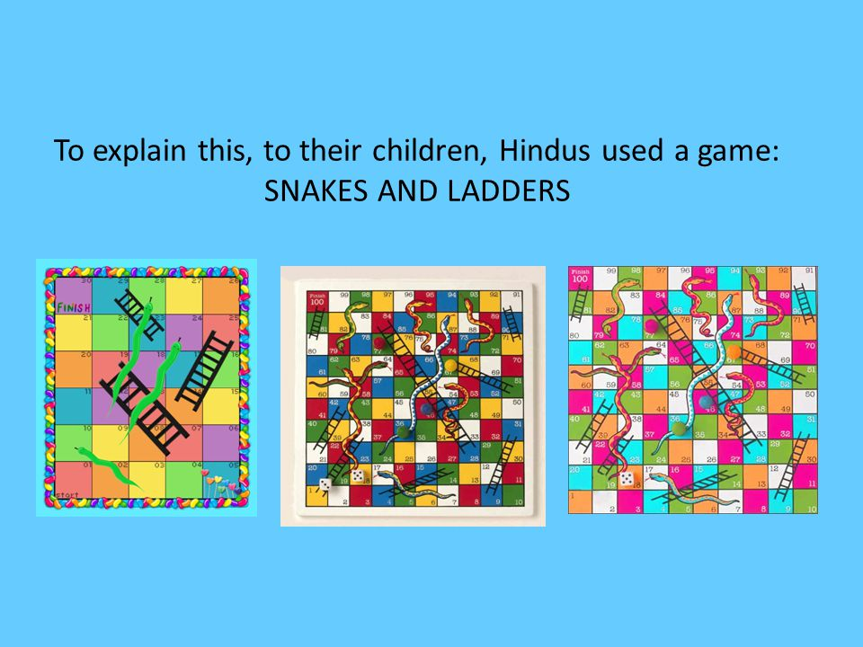 To explain this, to their children, Hindus used a game: SNAKES AND LADDERS