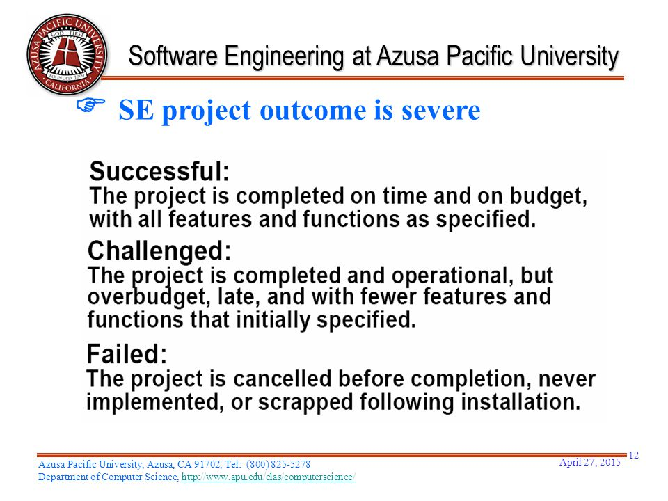 Software Engineering at Azusa Pacific University  SE project outcome is severe April 27, 2015 Azusa Pacific University, Azusa, CA 91702, Tel: (800) 8