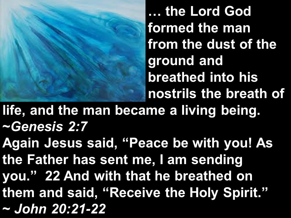 The next day John saw Jesus coming toward him and said, Behold, the Lamb of God, who takes away the sin of the world! John 1:29 … the Lord God formed the man from the dust of the ground and breathed into his nostrils the breath of life, and the man became a living being.