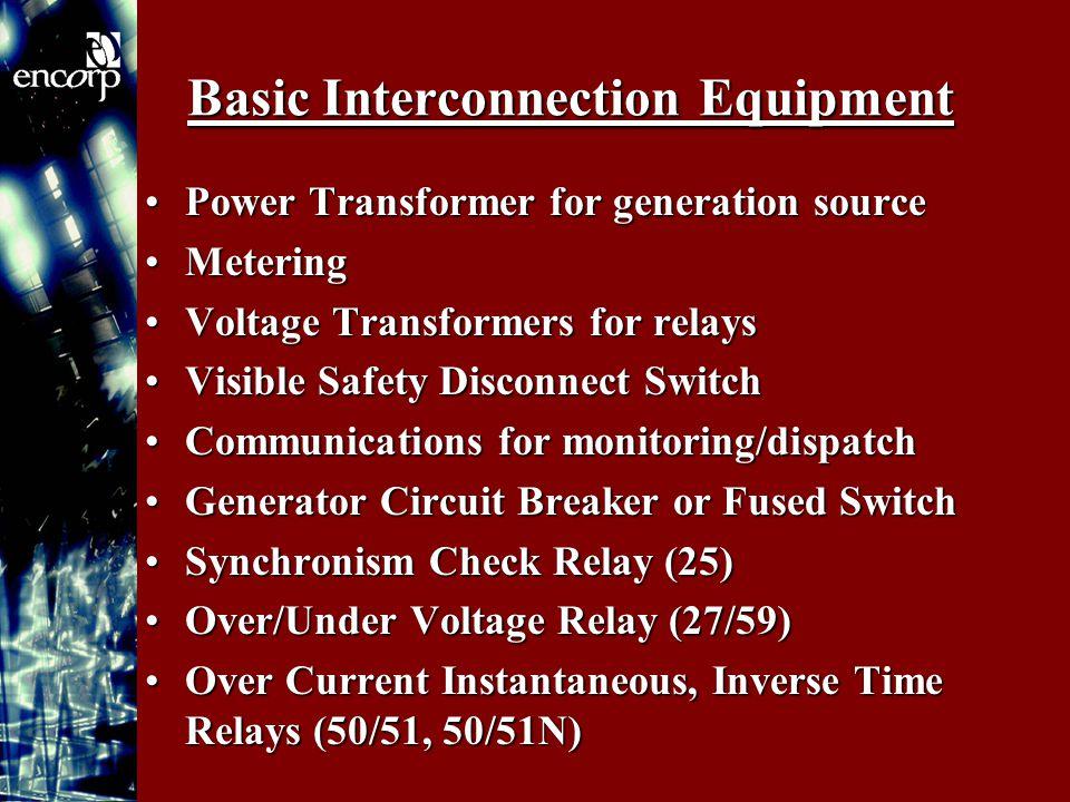 Basic Interconnection Equipment Power Transformer for generation sourcePower Transformer for generation source MeteringMetering Voltage Transformers f