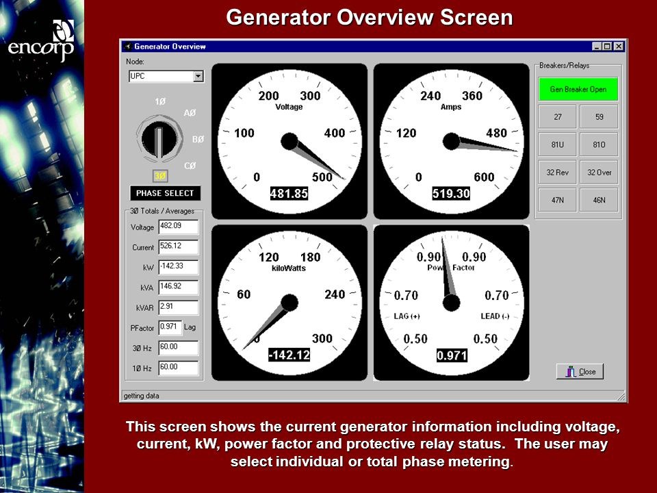 Generator Overview Screen This screen shows the current generator information including voltage, current, kW, power factor and protective relay status.