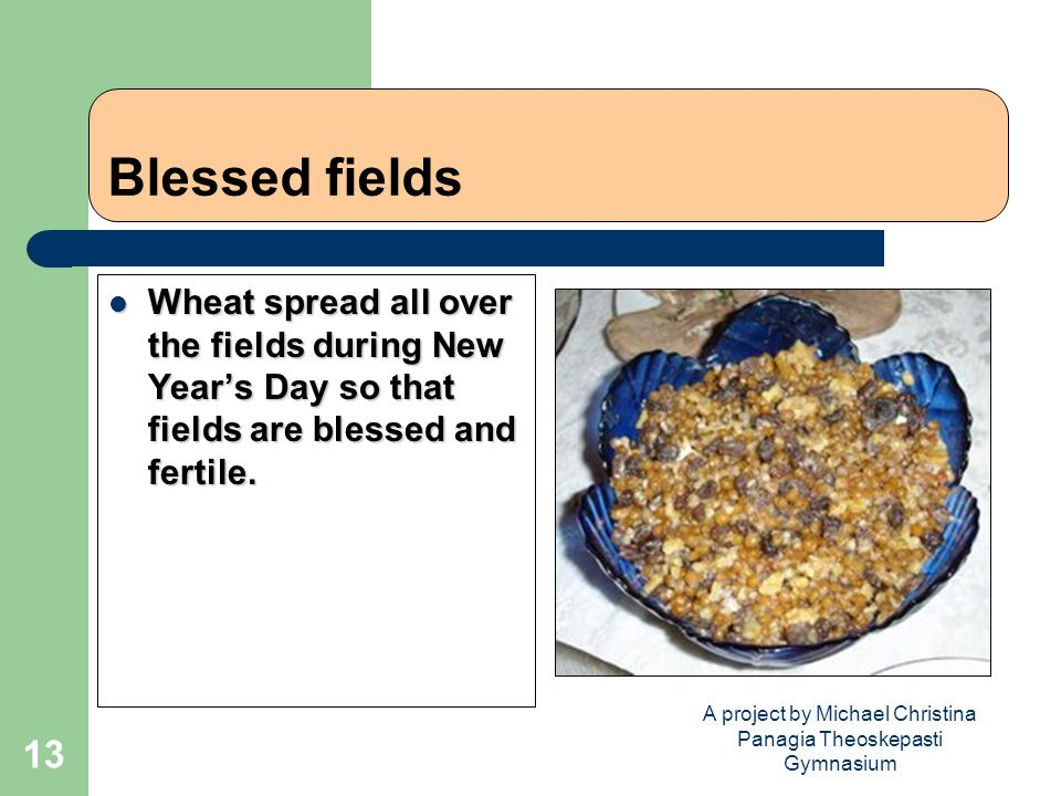 A project by Michael Christina Panagia Theoskepasti Gymnasium 13 Blessed fields Wheat spread all over the fields during New Year's Day so that fields are blessed and fertile.