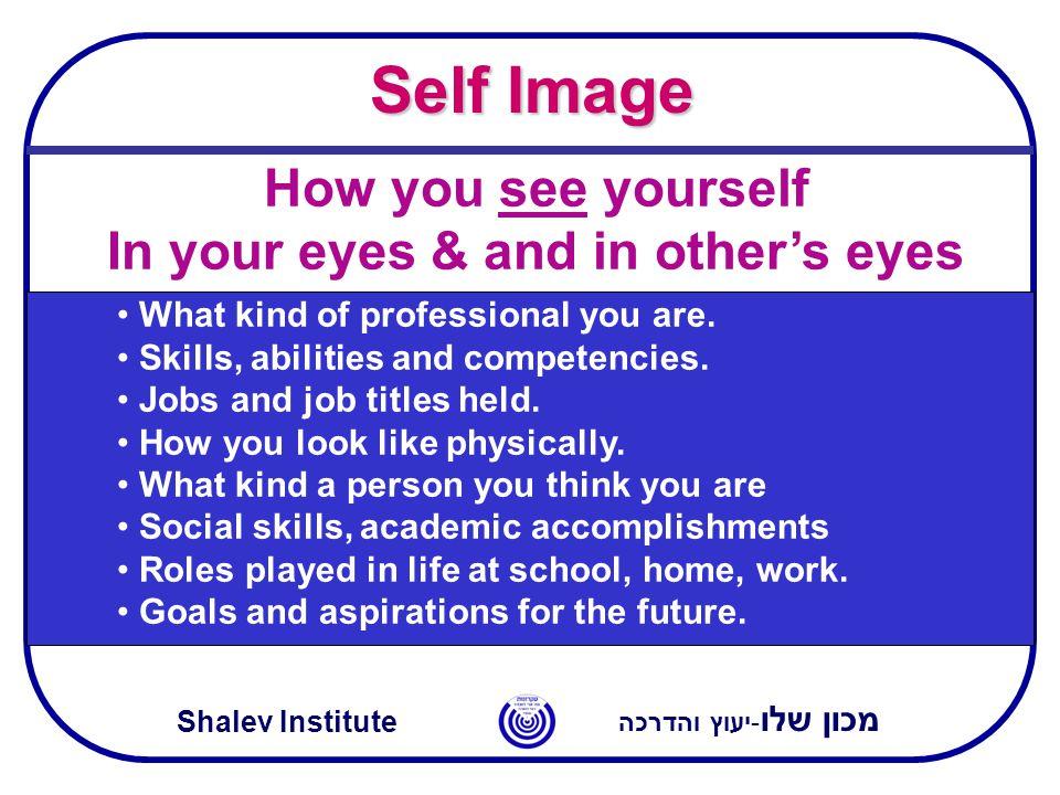 מכון שלו -יעוץ והדרכה Shalev Institute Self Image What kind of professional you are. Skills, abilities and competencies. Jobs and job titles held. How