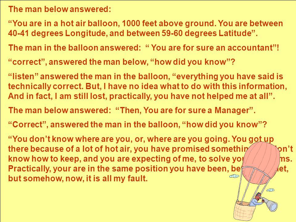 """מכון שלו -יעוץ והדרכה Shalev Institute Humor The man below answered: """"You are in a hot air balloon, 1000 feet above ground. You are between 40-41 degr"""