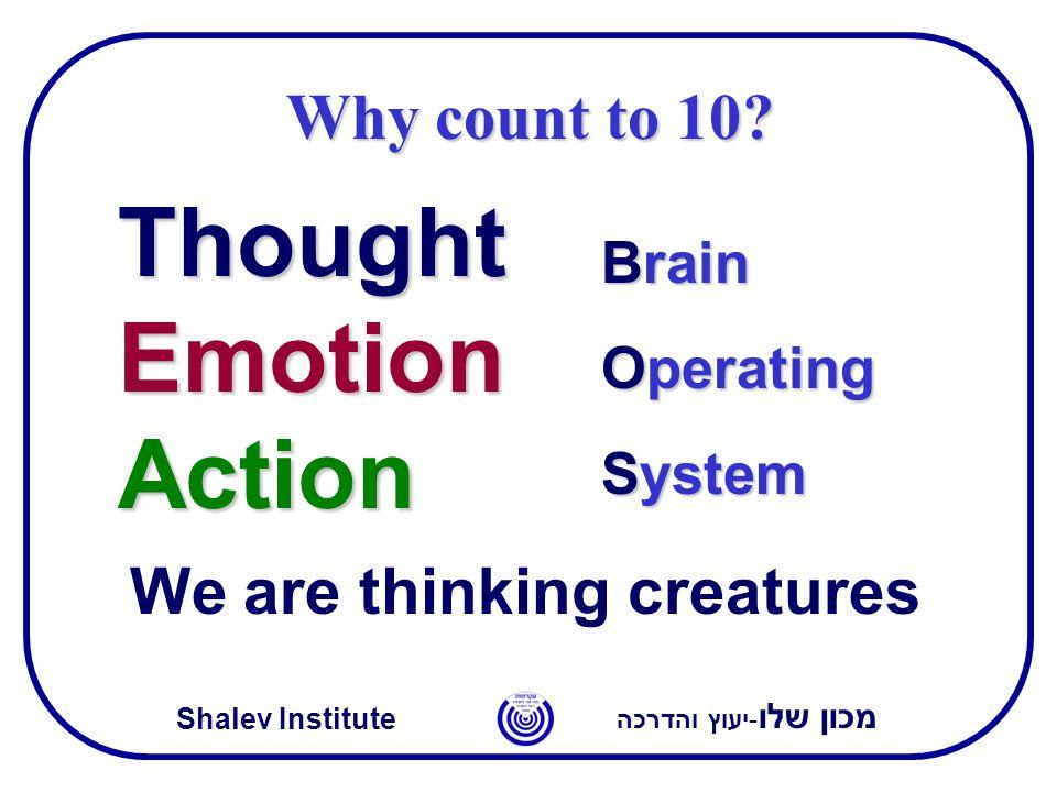 מכון שלו -יעוץ והדרכה Shalev Institute Thought Emotion Action Brain Operating System We are thinking creatures Why count to 10?