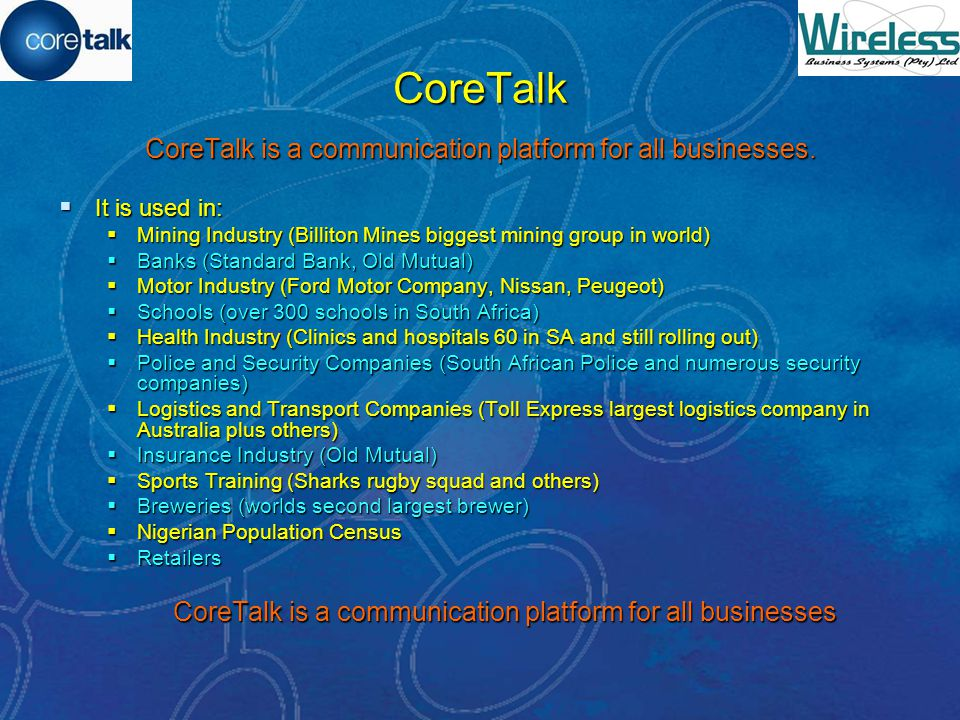CoreTalk in business