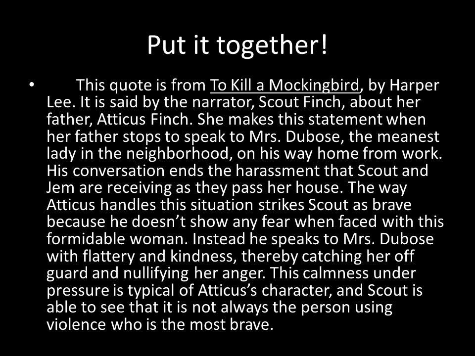Put it together. This quote is from To Kill a Mockingbird, by Harper Lee.