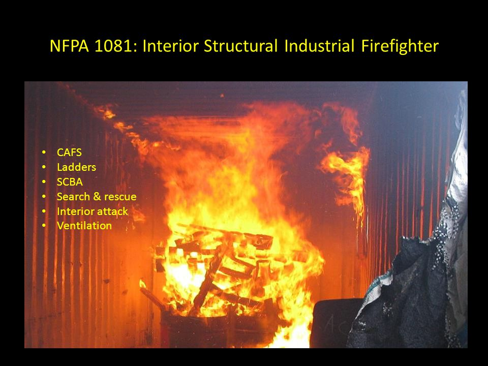 NFPA 1081: Interior Structural Industrial Firefighter Structural fires Vehicle fires Water supply Pumper operations Hose lays Low expansion foam