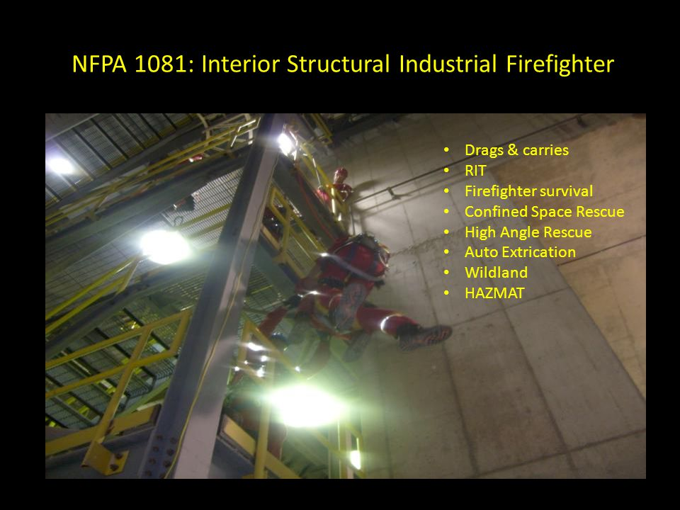 NFPA 1081: Interior Structural Industrial Firefighter CAFS Ladders SCBA Search & rescue Interior attack Ventilation