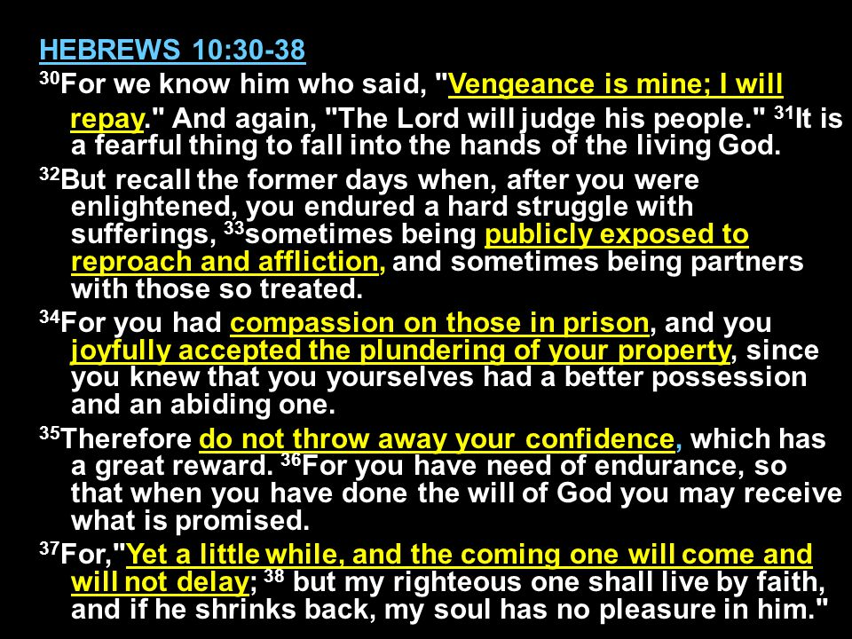 HEBREWS 10:30-38 30 For we know him who said,