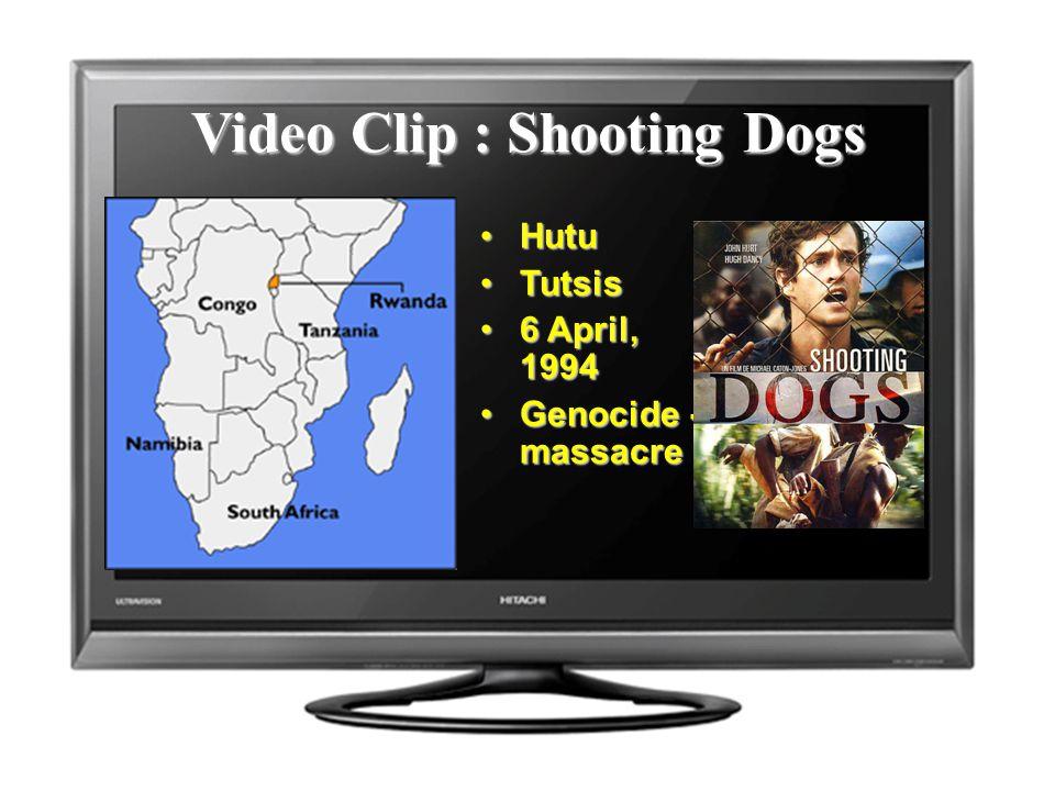 Video Clip : Shooting Dogs HutuHutu TutsisTutsis 6 April, 19946 April, 1994 Genocide - massacreGenocide - massacre
