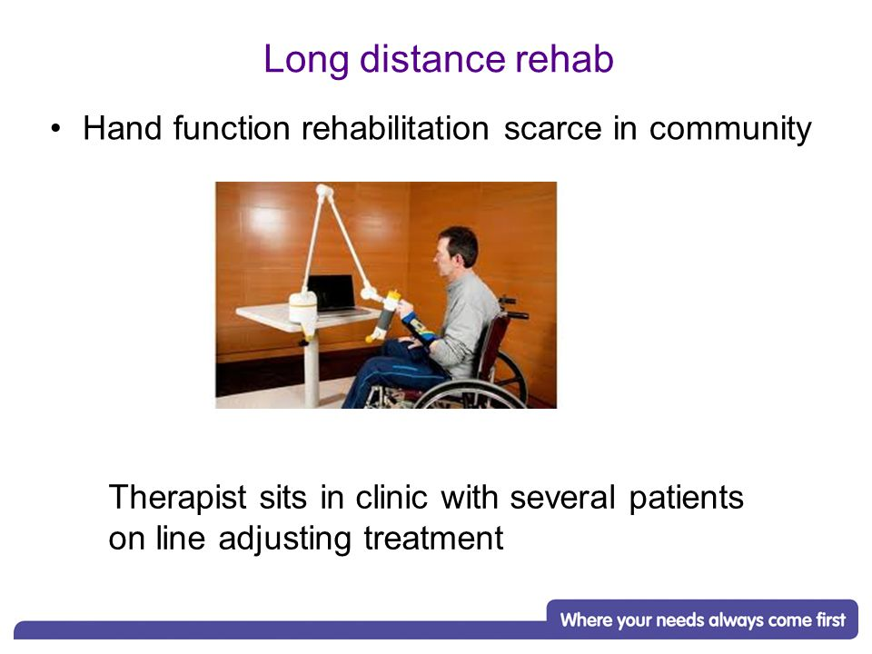 Long distance rehab Hand function rehabilitation scarce in community Therapist sits in clinic with several patients on line adjusting treatment