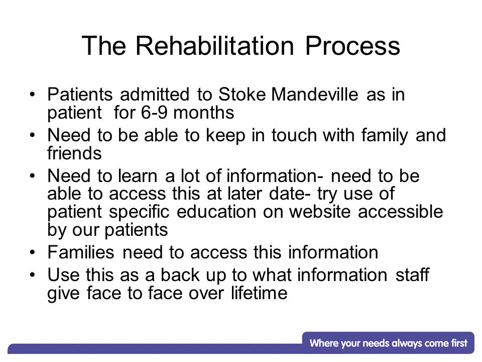 The Rehabilitation Process Patients admitted to Stoke Mandeville as in patient for 6-9 months Need to be able to keep in touch with family and friends Need to learn a lot of information- need to be able to access this at later date- try use of patient specific education on website accessible by our patients Families need to access this information Use this as a back up to what information staff give face to face over lifetime