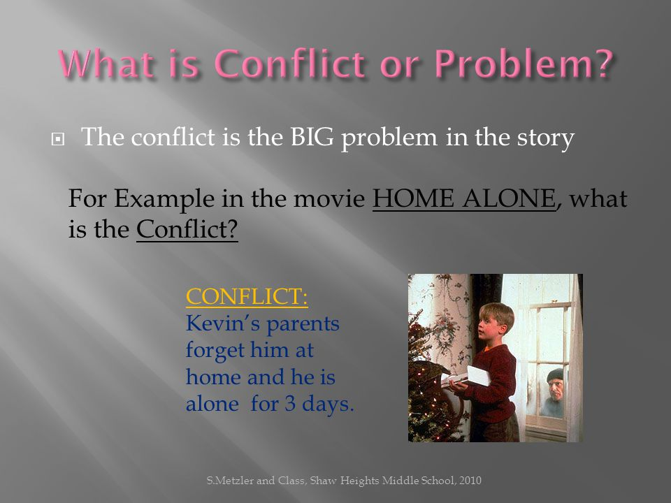 TThe conflict is the BIG problem in the story For Example in the movie HOME ALONE, what is the Conflict.