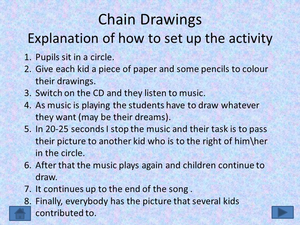 Chain Drawings Explanation of how to set up the activity 1.Pupils sit in a circle.
