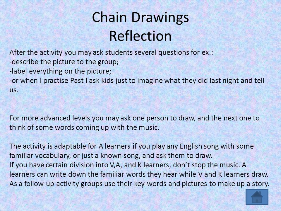 Chain Drawings Reflection After the activity you may ask students several questions for ex.: -describe the picture to the group; -label everything on the picture; -or when I practise Past I ask kids just to imagine what they did last night and tell us.