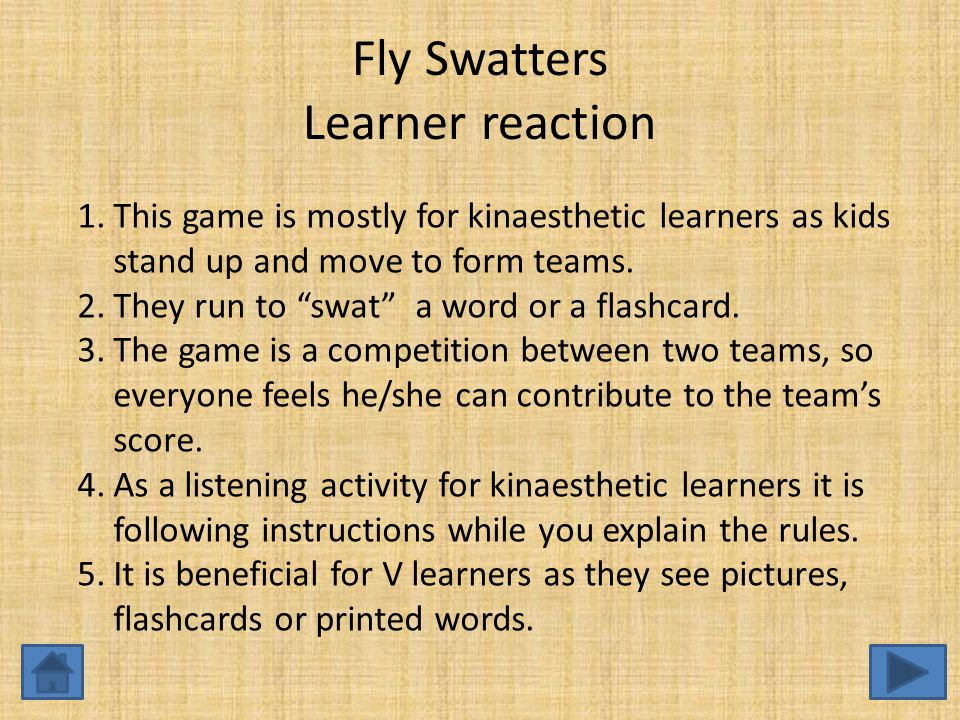 Fly Swatters Learner reaction 1.This game is mostly for kinaesthetic learners as kids stand up and move to form teams.