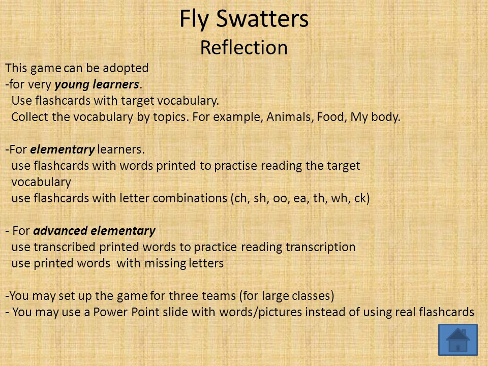 Fly Swatters Reflection This game can be adopted -for very young learners.