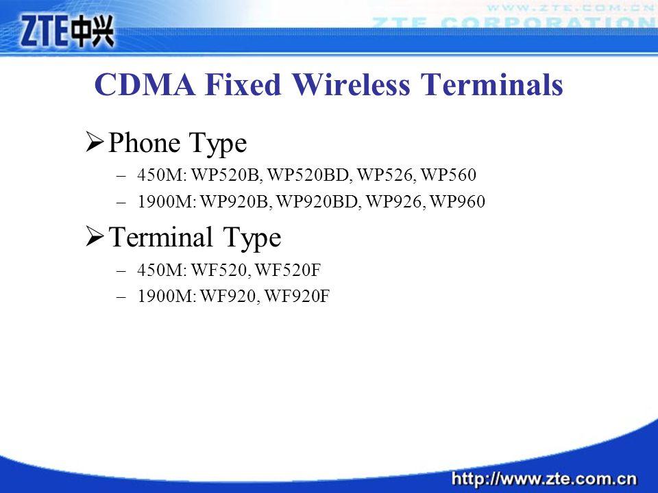 CDMA Fixed Wireless Terminals  Phone Type –450M: WP520B, WP520BD, WP526, WP560 –1900M: WP920B, WP920BD, WP926, WP960  Terminal Type –450M: WF520, WF520F –1900M: WF920, WF920F