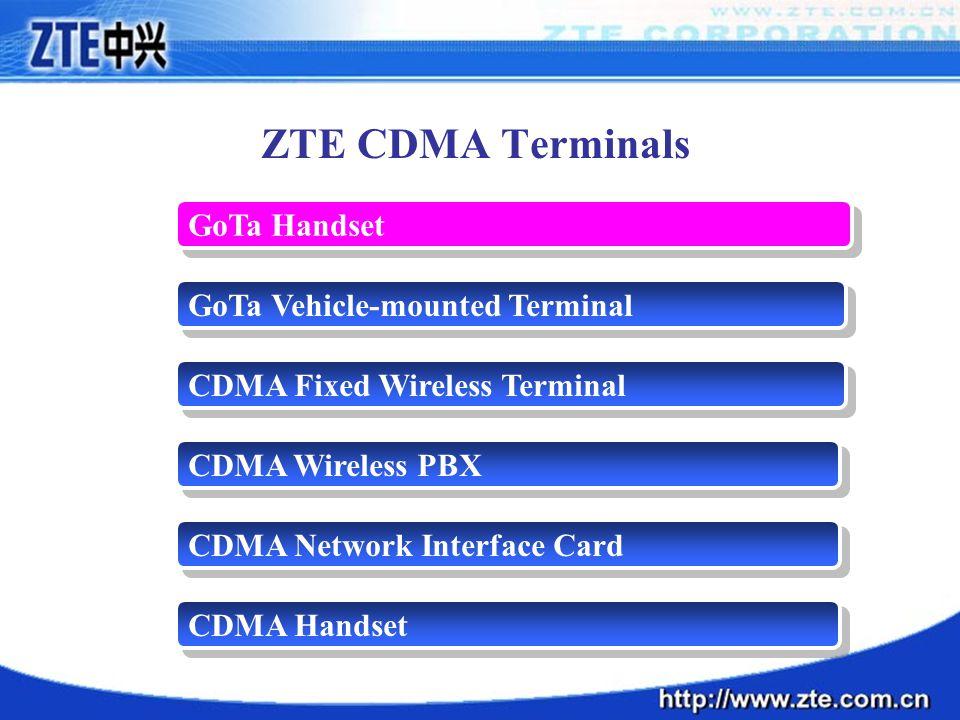 CDMA Wireless PBX GoTa Vehicle-mounted Terminal GoTa Handset ZTE CDMA Terminals CDMA Fixed Wireless Terminal CDMA Network Interface Card CDMA Handset